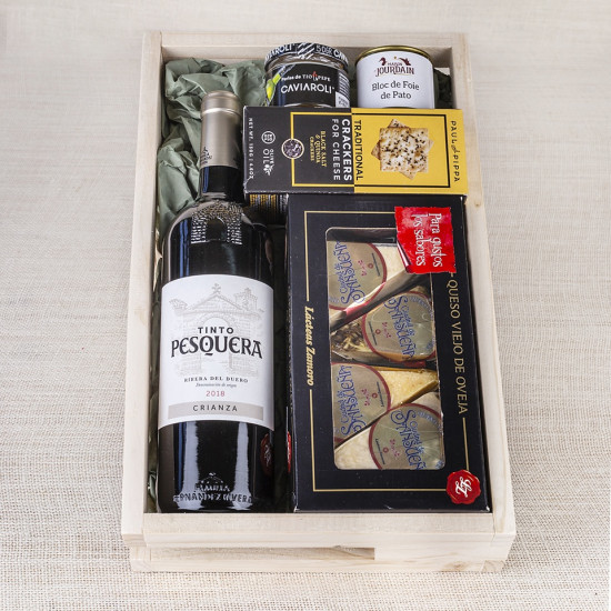 Pack Gourmet con vino tinto Ribera del Duero Pesquera