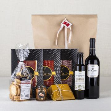 Pack Vino Rioja tinto Gran Albina con ibericos